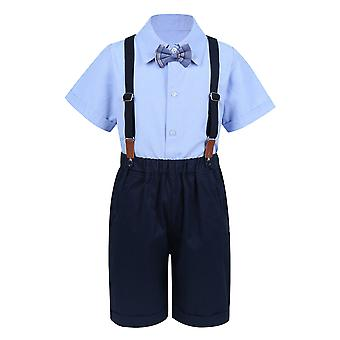 Baby Gentleman Outfit Short Sleeve Lapel Shirt Tops With Bow Tie Suspenders