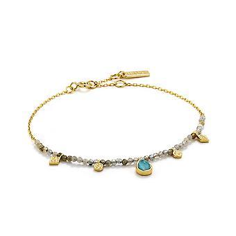 Ania Haie Silver Shiny Gold Plated Turquoise Labradorite Bracelet B014-03G