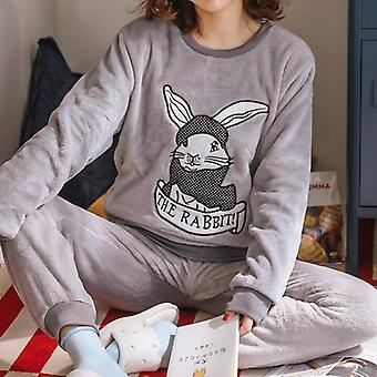 Thick Coral Velvet Long Sleeve Cartoon Sleepwear Flannel Pajamas Set