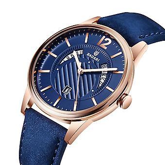 BAGARI 8015P lysende display ægte læderrem Kvarts Watch Casual Style M