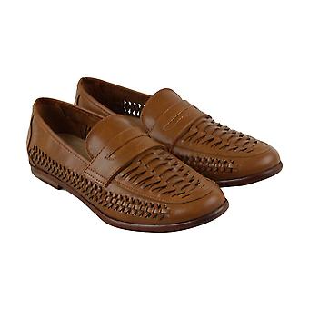 Steve Madden  Mens Brown Leather Slip On Penny Loafers Shoes