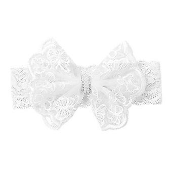 Baby pannband vit rosett
