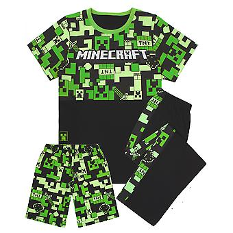 Pyjamas Minecraft pour garçons | Kids Long Or Short Bottoms Options & Gamer T-Shirt | Childrens Creeper PJ Set Merchandise Cadeaux