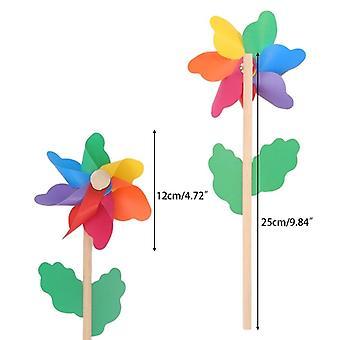 Wood Windmill Wind Spinner Home Garden Yard Decoration