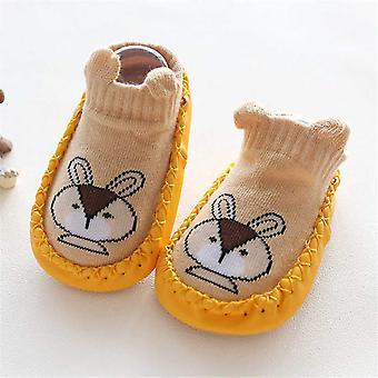 Newborn Baby Foot Socks Pu With Knitting Cartoon Animal Baby Shoes