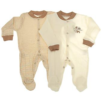 Baby Long Sleeve 100% Cotton Sleepsuits (Pack Of 2) -3 Designs Boys/Girls Options