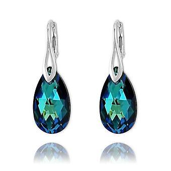 Päärynä 22mm hopea korvakorut swarovski kristalli - bermuda sininen