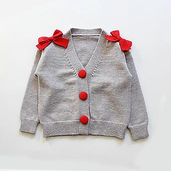 Toddler Knitted Outerwear, Clothes, Sweater For, Button Design With Bow, Warm