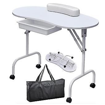 Foldable Manicure Table With Wrist Cushion Drawer And Carry Bag
