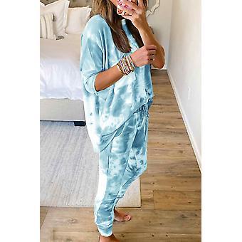 Sky Blue Tie-dye Short Sleeve Pants Loungewear Set