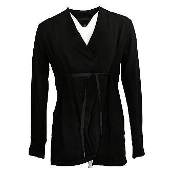 Cuddl Duds Women's Sweater Comfortwear Cascade Front Wrap Black A381692