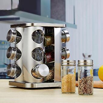Cozinha Jars Especiarias Tempero rotativo Cruet Conjunto De aço inoxidável vidro de vidro sal Shakers Páprica Armazenamento de garrafas