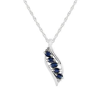 Modern Oval Sapphire & Diamond Leaf Pendant Necklace in 925 Sterling Silver 253P217702925