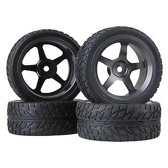 4 pezzi RC1:10 Su strada Gomma fiamma auto pneumatico e argento-grigio lega cerchi ruota a 5 raggi