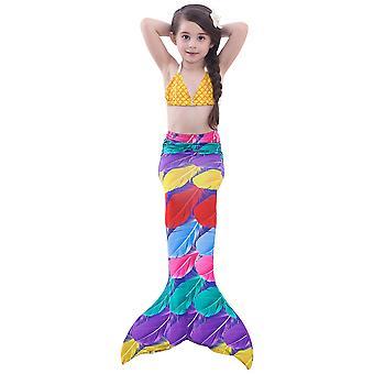 Swimsuit children's mermaid swimwear girl mermaid tail girl mermaid costume  three-piece set feet