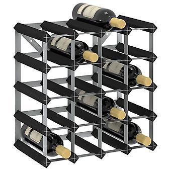 vidaXL wine rack for 20 bottles of black solid wood pine