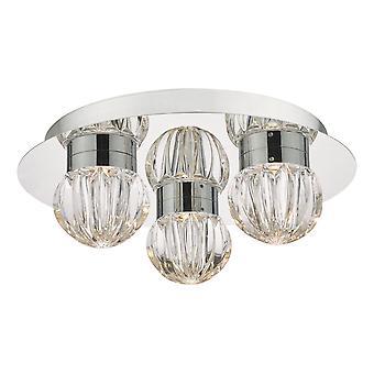 Flush Ceiling Light Polished Chrome & Glass LED Łazienka IP44, 3x LED