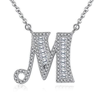 Gemshadow initial Sterling 925 silver necklace with zircon personalized letter gifts for women girls, cod. AQEN000054