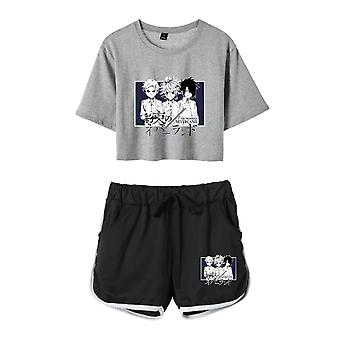 The Promised Neverland Sportswear Loose Leak Navel T-shirt Shorts Tracksuits With Pocket