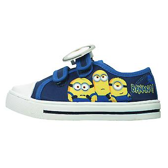 Boys Blue Minions Banana Low-Top Casual Trainer Canvas Shoes