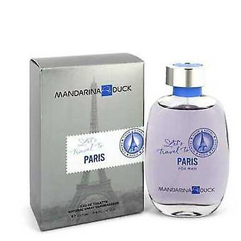ماندارينا بطة Let & apos السفر إلى باريس بواسطة ماندارينا بطة Eau De Toilette Spray 3.4 Oz (رجال) V728-548951