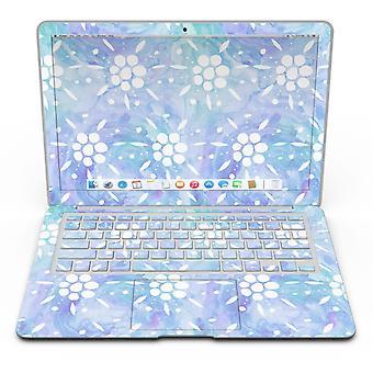 Blue Watercolor And White Flower Print Pattern - Macbook Air Skin Kit