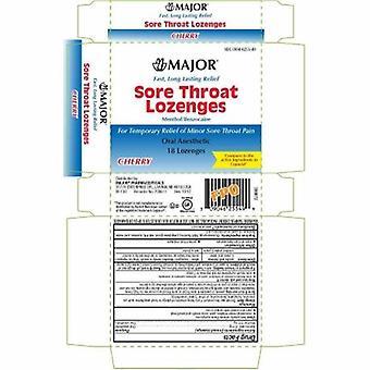Major Pharmaceuticals Sore Throat Relief Major 15 mg - 4 mg Strength Lozenge 18 per Box, 1 Count