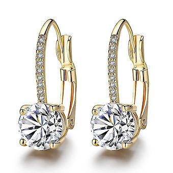 Ear Hooks Gold Micro Incrusté quatre griffes boucles d'oreilles diamant rond pour le Festival