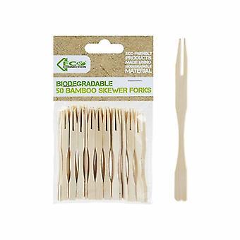 ECO Anslutningspaket med 50 engångsgafflar av bambuspett
