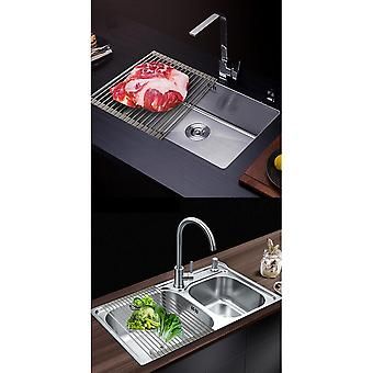 Seeunique Foldable Portable Dish Drainers For Kitchen Sink Counter Roll-up Drying Rack