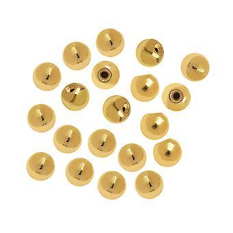 نهاية كاب الخرز لأسلاك الذاكرة، جولة الغراء في قطر 3mm، 20 قطعة، مطلي بالذهب
