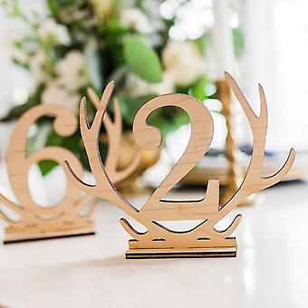 1-20 Antler wooden table cards number sets hollow out ornaments for wedding party favors decoration name place cards numbers