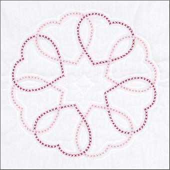 """Jack Dempsey leimattu valkoinen peitto lohkot 18""""X18"""" 6 /Pkg - Circle Of Hearts"""