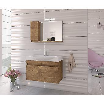 Set Mobili Senso , Colore legno, Bianco in Truciolare Melaminico, LPB, Ceramica, Alluminio, ABS, Unita' Base con Lavabo: L85xP50xA50 cm