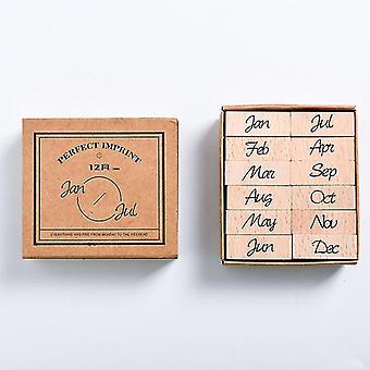 Wooden Stamp Set - Month And Week Seal School Office Accessories