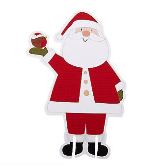 Let It Snow - Father Christmas Glass Decoration
