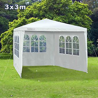 Slimbridge Saltney gazebo de 3 x 3 metros con 3 lados, blanco
