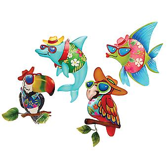 Key West Dolphin Fish Toucan Parrot Large Christmas Holiday Ornaments Set of 4