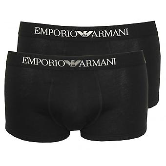 Emporio Armani 2'li Paket Saf Pamuk Boxer Şort, Siyah