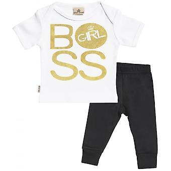 Verwöhntes faulen Chef Mädchen Baby T-Shirt & Baby Jersey Hose Outfit-Set