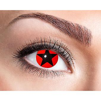 Red star distress contact lenses
