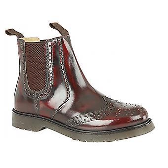 Grafters Mens Hi-Shine Leather Brogue Gusset Dealer Boots