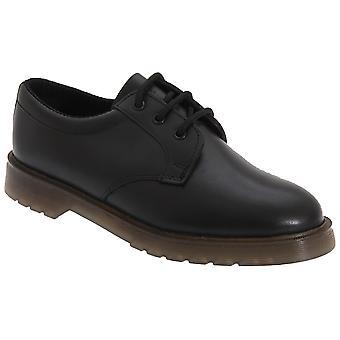 Grafters Mens glad lederen Uniform schoenen met lucht gepolsterde tong