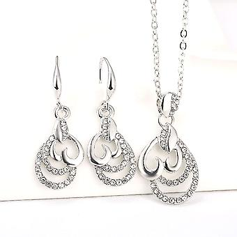Womens Beautiful Silver Heart Drop Pendant Necklace And Earrings Jewellery Set