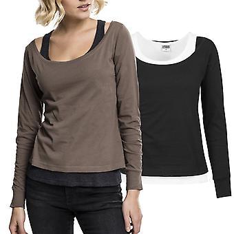 都市の古典女性 - 2 色長袖シャツ