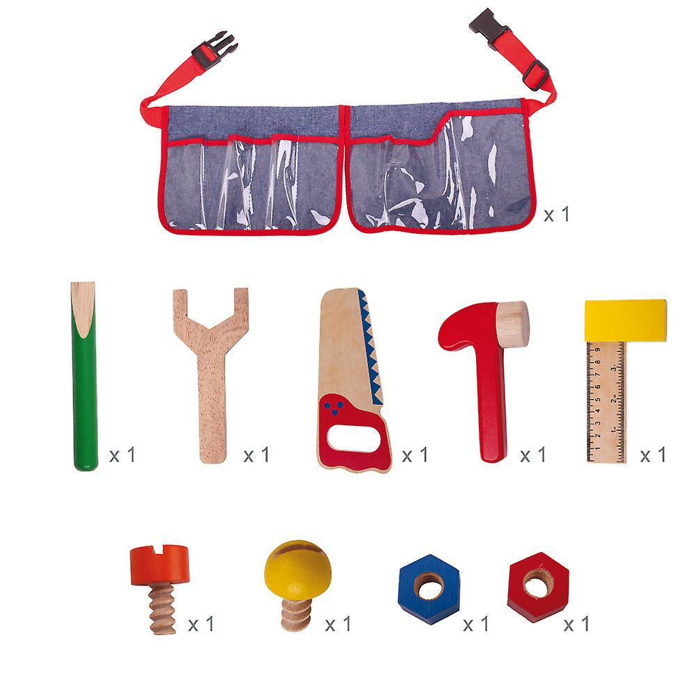 Bigjigs Toys Red Carpenter's Tool Belt with Wooden Tools Building Construction