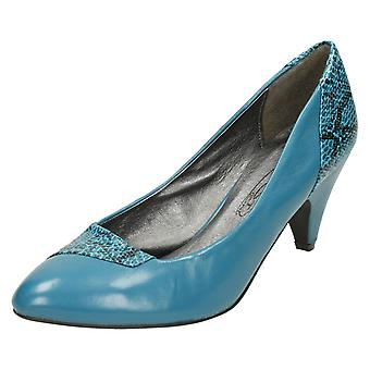 Ladies Spot On Heeled Court Shoes F9409