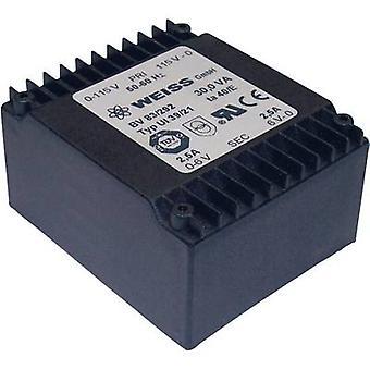 Weiss Elektrotechnik 83/292 PCB mount transformer 2 x 115 V 2 x 6 V AC 30 VA 2500 mA