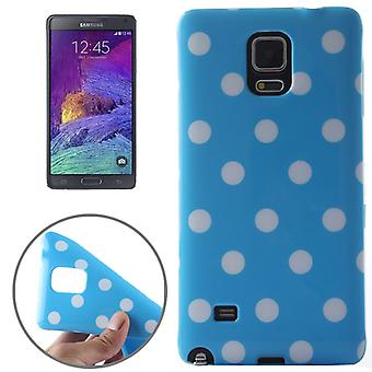 Protective case for mobile Samsung Galaxy touch 4 SM N910F light blue / white dotted