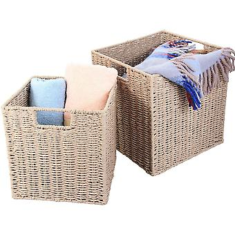 Natural Paper Rope Storage Baskets (Warm Grey, Set of 2)
